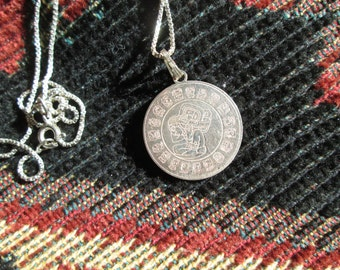 Mayan Calendar Sterling Silver Pendant Necklace