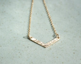 Gold Filled Chevron Necklace- Minimalist Necklace