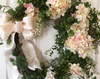 SUMMER WREATH, Hydrangea Wreath, Spring Wreath, Boxwood Wreath, Wedding Wreath, Wreath, White Hydrangea Wreath, Front Door Wreath