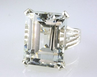 Large  White Topaz Emerald Cut Solitaire Ring 925 Sterling Silver Genuine Topaz Crystal 13.89C