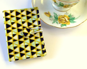 Tea Bag Wallet, Tea Caddy, Business Card Holder, Travel Tea Purse, Fabric Button,  Triangles on Lime Green, Geometric Triangles