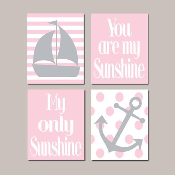 Girly Pink Nursery Decor: Pink Nautical Nursery Art Pink Gray Nursery Decor Anchor