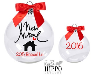 Realtor gift to clients New Home Christmas Ornament Personalized with Address  BULK AVAIL