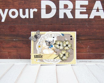 Greeting Card Handmade Shabby Chic Paper Greeting Cards Greeting Cards for Her Him I Miss You Birthday Card One of a Kind Cards Blank
