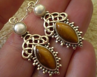 """Tigers Eye (Natural) Freshwater Pearl (Natural) 925 Sterling Silver French Wire Dangle Earrings - 1 3/4"""" Long"""