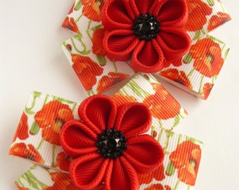 Handmade Kanzashi girls hair clips bows- buy in UK,shipping worldwide- Poppy flowers pins