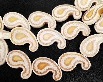 Full Strand 24 pcs 20x12mm Ivory Howlite Paisley Beads Off White Paisley Beads