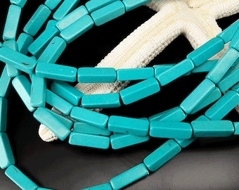 2 Full Strand Approx 62pcs 13x4mm Turquoise Square Tube Beads