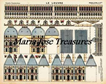Vintage D'Epinal Pellerin Louvre Museum, Paris, France, Paper Model Cut Outs - Digital Download