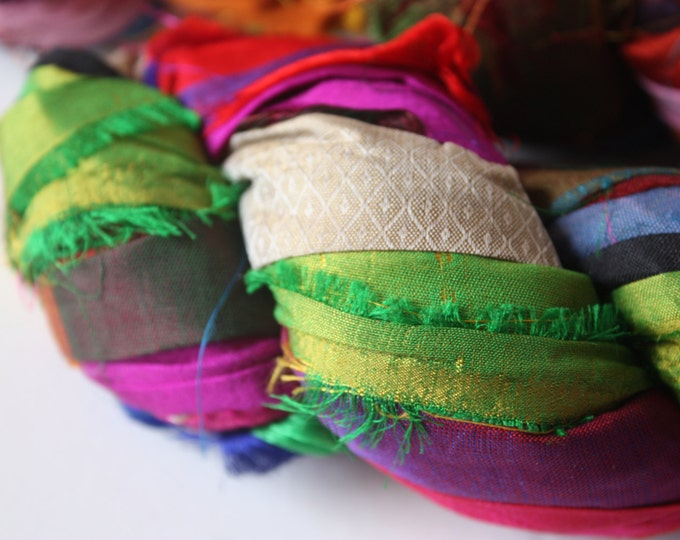 25% OFF SALE***Recycled Sari Silk Ribbon - Multicolor