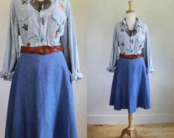 Vintage 1970s Denim Circle Skirt