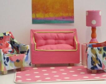 Bubblegum Pink Linen Barbie Settee