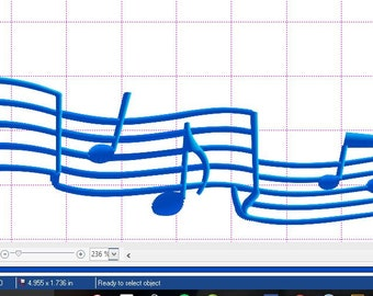 Embroidery file Music notes 5in