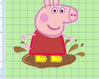 Embroidery Design Applique Peppa Pig  5in