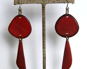 Natural Tagua Earrings in Deep Velvety Red,  Light Weight Earrings made with Fair Trade Tagua Nut Beads