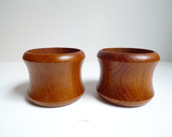 Two Danish Teak Candle Holders made by Selandia - Mid Century Modern, Danish Teak, Modern Candleholder, Scandinavian Decor, Danish Modern