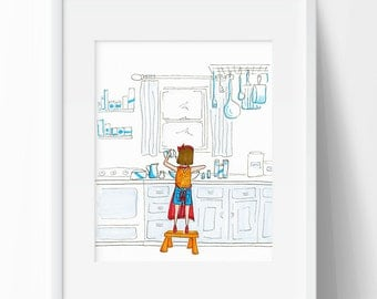 Girl Baking in Kitchen Wall Art Print for Cook Girl Cooking Wall Art Vintage Kitchen Wall Decor 50's Kitchen Print Drawing of Kitchen Art