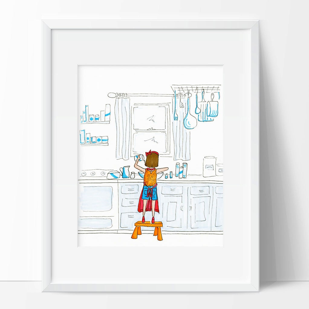 Girl Baking In Kitchen Wall Art Print For Cook Girl Cooking