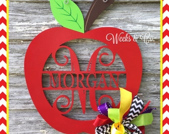 Back to School Apple with Initial with Name Door Hanger Teacher Gift