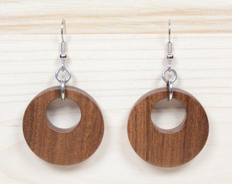 Wooden Hoop Earrings, Creole Earrings, Round Earrings, Brown Earrings, Wooden Earrings, Wooden Drop Earrings, Afromosia Earrings