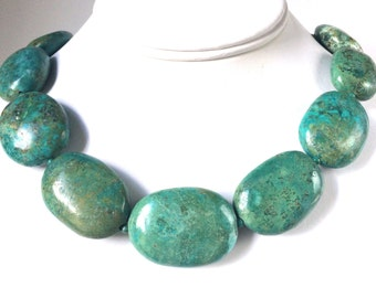 Turquoise Gold Necklace, Natural Turquoise Necklace, Bold and Chunky Turquoise