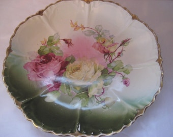 Decorative display plate, large roses, ombre plate, hand painted, collectible plate, shabby cottage chic, french farmhouse