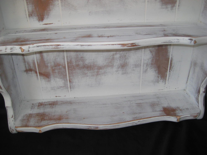 White Wood Distressed Shelves Vintage Shelves Rustic Plate