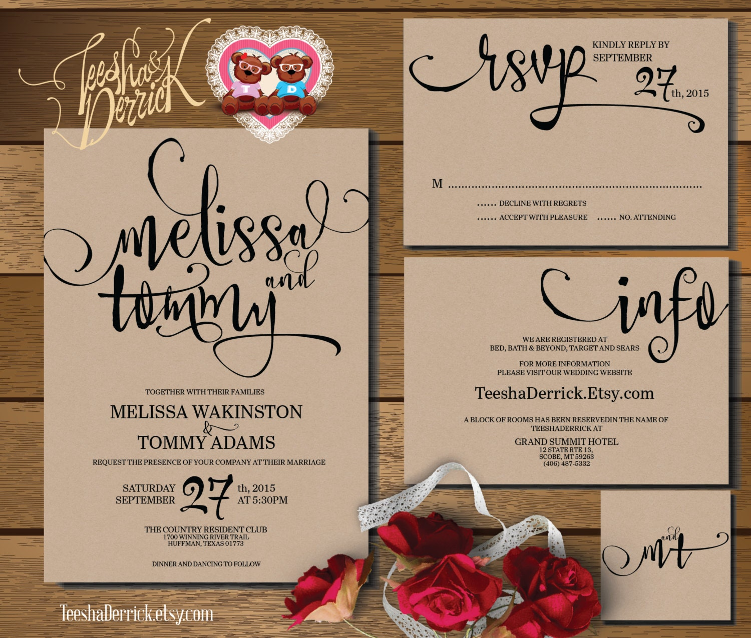 Printable Wedding Invitation Suite W0346 Consists Of