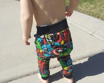 Superhero avengers baby boy girl leggings, toddler superhero leggings, harem baby boy girl leggings, hipster baby boy girl leggings toddler