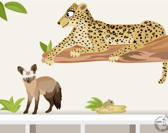 "Wall decal ""leopard"" Jaculus & Bat-eared fox from World animal Series Baby nursery"