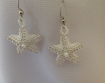 Three Dimensional Starfish Earrings in White and Silver