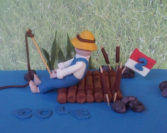 Fondant Fisherman Cake Topper (Huckleberry Finn)