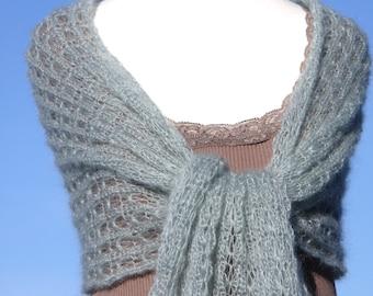 Knit shawl, knit wrap, mohair shawl, bridal wrap, bridal shawl, wedding wrap,mint green, lace