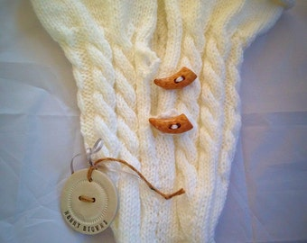 Cable knit new baby toggle/cocoon/baby shower/new baby gift/