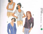 UNCUT Size XS-XL Misses' V Neck Button Front Cardigan & Camisole Sewing Pattern - Sweater Set - Kwik Sew 2759
