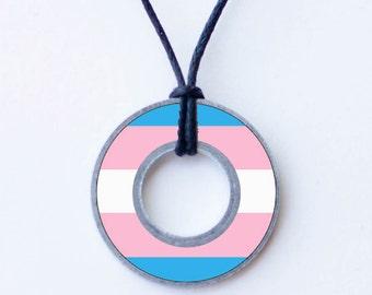 Transgender Pride Washer Necklace