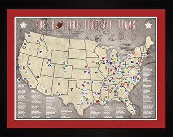 FBS College Football Stadiums Teams Location Map, 24x18 | Print Gift Wall Art TFOOTFBS1824