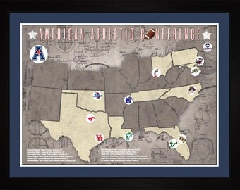 AAC College Football Stadiums Teams Location Tracking Map, 24x18 | Print Gift Wall Art TFOOTAAC1824