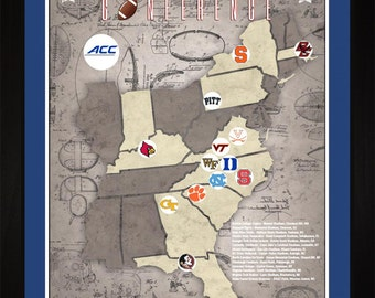 ACC College Football Stadiums Teams Location Tracking Map, 24x18 | Print Gift Wall Art TFOOTACC1824
