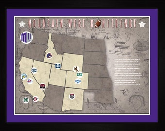 Mountain West Conference College Football Stadiums Teams Location Tracking Map, 24x18 | Print Gift Wall Art TFOOTMWC1824
