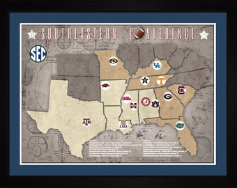 Southeastern Conference College Football Stadiums Teams Location Tracking Map, 24x18 | Print Gift Wall Art TFOOTSEC1824