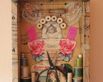 Found Object Assemblage - Vintage Sewing