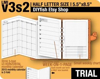 Trial [HALF size v3s2 w/o daily] November to December 2017 -Half Letter-DIYfish Filofax Inserts Refills Printable Binder Planner Midori.