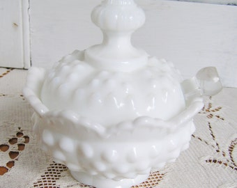 Vintage Fenton Hobnail Milk Glass Milkglass 3 Piece Jam Jelly or Condiment Jar with Clear Glass Spreader Tea Party Cottage Chic