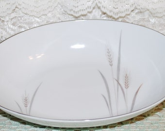 """Japan Fine China Platinum Wheat Pattern Footed 10"""" Oval Vegetable Bowl"""
