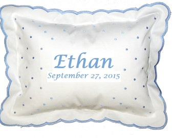 Monogrammed Personalized Baby Pillow / Swiss Dot Style / Name and Date