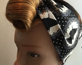 Black and White Witches Silhouette Handmade Halloween Pinup-Inspired Fabric Head Scarf
