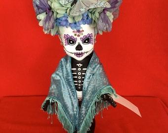 Luna Azul is a OOAK  Day of the Dead baby art doll