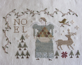 Heaven & Nature Sing - Finished Cross Stitch on Linen Unframed