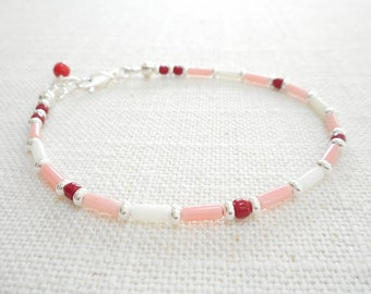 Bamboo Coral Bracelet - Red, White and Pink Coral Bracelet, Delicate Stacking Layering Beaded Bracelet, Dainty Multi Color Coral Jewelry
